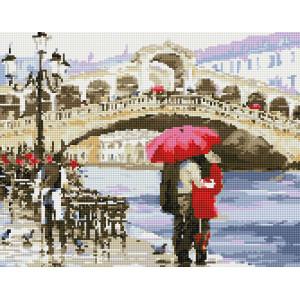 """VА129 Алмазная мозаика на подрамнике """"Влюбленные у моста в Венеции"""",   40х50 см"""