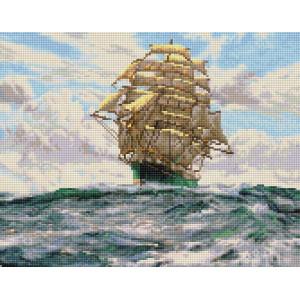 "VА134 Алмазная мозаика на подрамнике ""Белые паруса"",   40х50 см"
