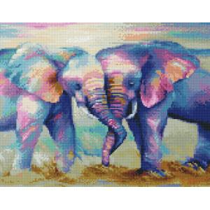 """VА140 Алмазная мозаика на подрамнике """"Влюбленные слоны"""",   40х50 см"""