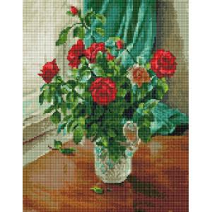 "NА144 Алмазная мозаика на подрамнике ""Алые розы у окна"",   40х50 см"