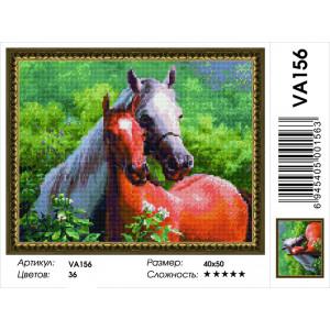 """VА156 Алмазная мозаика на подрамнике """"Пара лошадей"""",   40х50 см"""