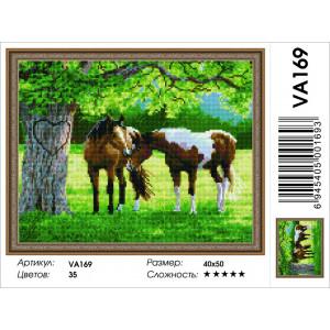 """VA169 Алмазная мозаика на подрамнике """"Лошади у дуба"""",   40х50 см"""