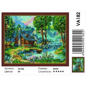 """VА182 Алмазная мозаика на подрамнике """"Домик с прудом"""",   40х50 см"""