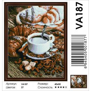"VА187 Алмазная мозаика на подрамнике ""Кофе с круассанами"",   40х50 см"
