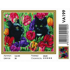 """VА199 Алмазная мозаика на подрамнике """"Коты в тюльпанах"""",   40х50 см"""
