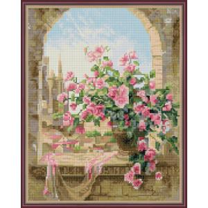 Алмазная мозаика 40х50 круглые стразы QA 200147 Розы у окна