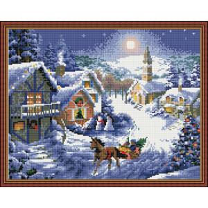 Алмазная мозаика 40х50 круглые стразы QA 200275 На санях по снегу