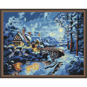 Алмазная мозаика 40х50 круглые стразы QA 200301 Зима в деревне