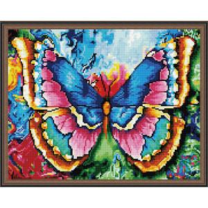 Алмазная мозаика 40х50 круглые стразы QA 200538 Яркая бабочка