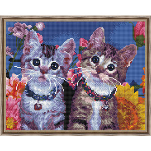 Алмазная мозаика 40х50 круглые стразы QA 200716 Милые котята