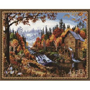 "QА200733 Алмазная мозаика на подрамнике ""Водяная мельница"", 40х50 см"