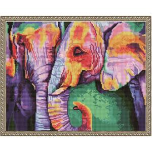 """QА201046 Алмазная мозаика на подрамнике """"Радужные слоны"""", 40х50 см"""