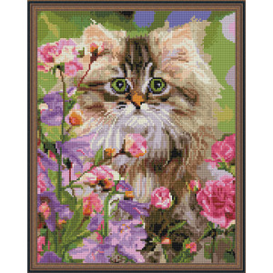 Алмазная мозаика 40х50 круглые стразы QA 201187 Котенок в цветах
