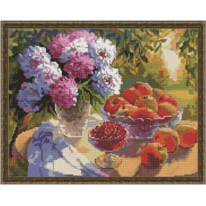"QА201262 Алмазная мозаика на подрамнике ""Пионы и яблоки"", 40х50 см"