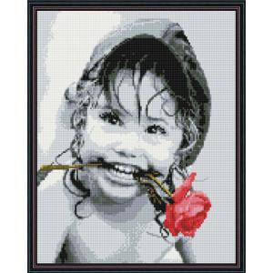 Алмазная мозаика 40х50 круглые стразы QA 201328 Ребенок и роза