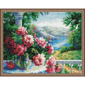 Алмазная мозаика 40х50, круглые стразы QA 201383 Цветы на окне