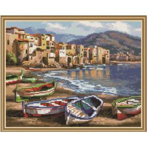 """QА201457 Алмазная мозаика на подрамнике """"Лодки на берегу"""", 40х50 см"""