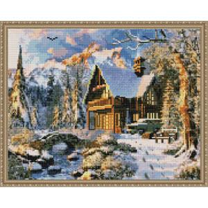 Алмазная мозаика 40х50 круглые стразы QA 201823 Зима в деревне