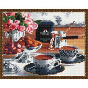 Алмазная мозаика 40х50, круглые стразы QA 201916 Кофе с конфетами