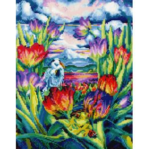 "NA163 Алмазная мозаика на подрамнике ""Поле тюльпанов"",   40х50 см"
