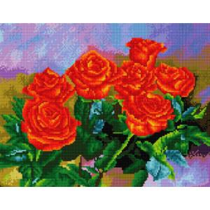 """NA166 Алмазная мозаика на подрамнике """"Коралловые розы"""",   40х50 см"""