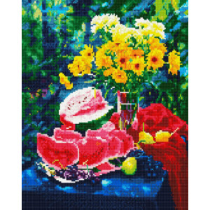 "NA168 Алмазная мозаика на подрамнике ""Натюрморт с арбузом и цветами"",   40х50 см"