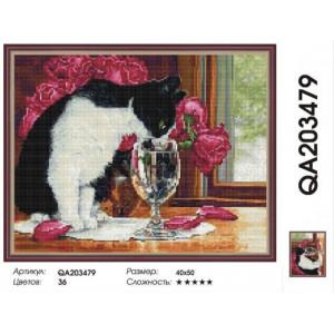 "QА203479 Алмазная мозаика на подрамнике ""Кот и букет роз"",   40х50 см"