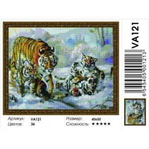 "VА121 Алмазная мозаика  ""Тигриное семейство"",   40х50 см"