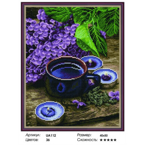 "VА112 Алмазная мозаика на подрамнике ""Сирень и свечи"",   40х50 см"