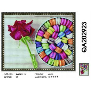 """LAG2923 Алмазная мозаика на подрамнике """"Макарони и роза"""",   40х50 см"""