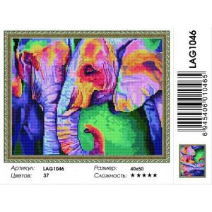 """LAG1046 Алмазная мозаика на подрамнике """"Радужные слоны"""",   40х50 см"""