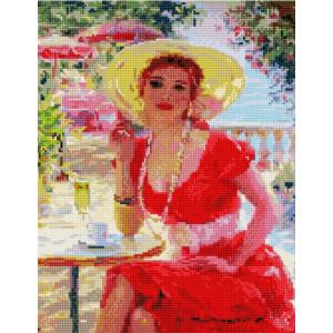"""NА417 Алмазная мозаика на подрамнике """"Дама за столиком в кафе"""",   40х50 см"""