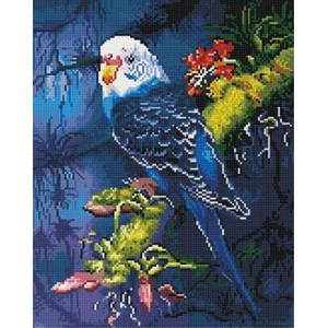 QA202082 Алмазная мозаика, 40х50, круглые стразы  Волнистый попугайчик
