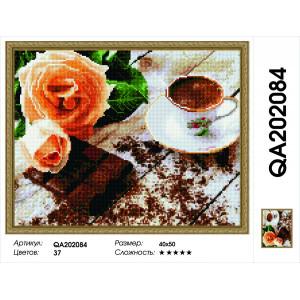 """QА202084 Алмазная мозаика на подрамнике """"Розы и шоколад"""", 40х50 см"""