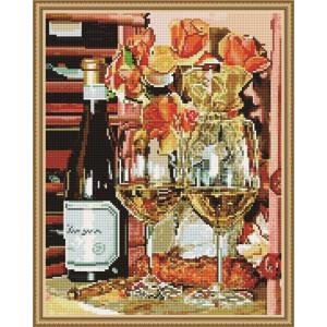 """QА202090 Алмазная мозаика на подрамнике """"Белое вино и розы"""", 40х50 см"""
