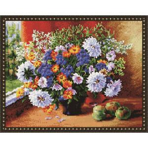 "QА202091 Алмазная мозаика на подрамнике ""Букет цветов у окна"", 40х50 см"