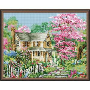 Алмазная мозаика 40х50 круглые стразы QA 202142 Дом в веченнем саду
