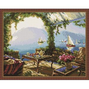 """QА202236 Алмазная мозаика на подрамнике """"Беседка с видом на море"""", 40х50 см"""