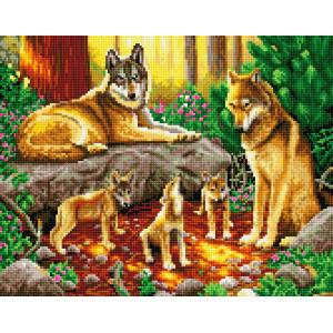 """QА202624 Алмазная мозаика на подрамнике """"Семья волков с волчатами"""", 40х50 см"""