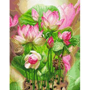 """QА202629 Алмазная мозаика на подрамнике """"Красота лотоса"""", 40х50 см"""