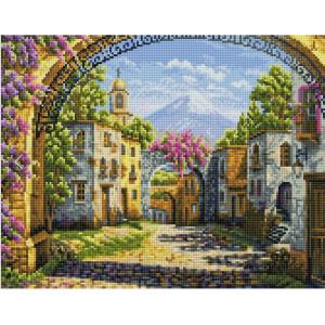 """QА202633 Алмазная мозаика на подрамнике """"Городок у вулкана"""", 40х50 см"""