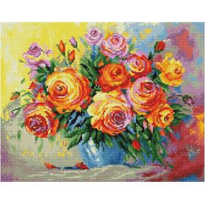 """QА202642 Алмазная мозаика на подрамнике """"Акварельные розы"""", 40х50 см"""