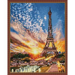 Алмазная мозаика 40х50 круглые стразы QA 202805 Эйфелева башня на закате