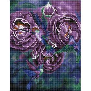 "QА202922 Алмазная мозаика на подрамнике ""Колибри на цветах"", 40х50 см"