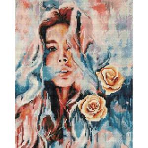 QA202978 Девушка и цветы Алмазная мозаика, 40х50, круглые стразы