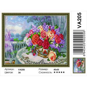 """VА205 Алмазная мозаика на подрамнике """"Букет цветов на террасе"""",   40х50 см"""