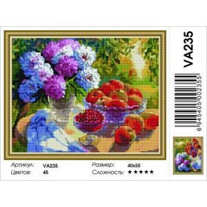 """VA235 Алмазная мозаика на подрамнике """"Пионы и яблоки"""",   40х50 см"""