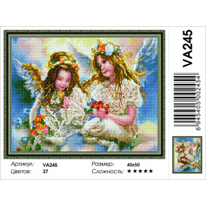 """VA245 Алмазная мозаика на подрамнике """"Ангелочки"""", 40х50 см - купить в Омске недорого"""