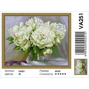 """VA251 Алмазная мозаика на подрамнике """"Белые пионы"""",   40х50 см"""