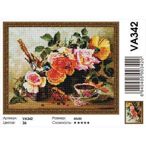 """VА342 Алмазная мозаика на подрамнике """"Птичка на розах"""",   40х50 см"""